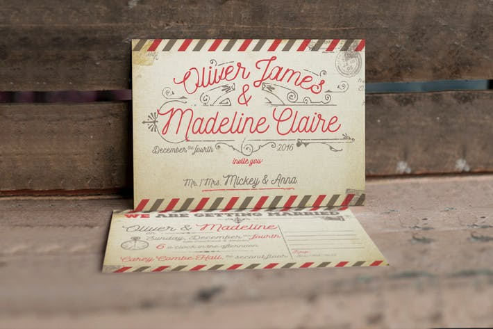 Thumbnail for Vintage Airmail Wedding Invitation
