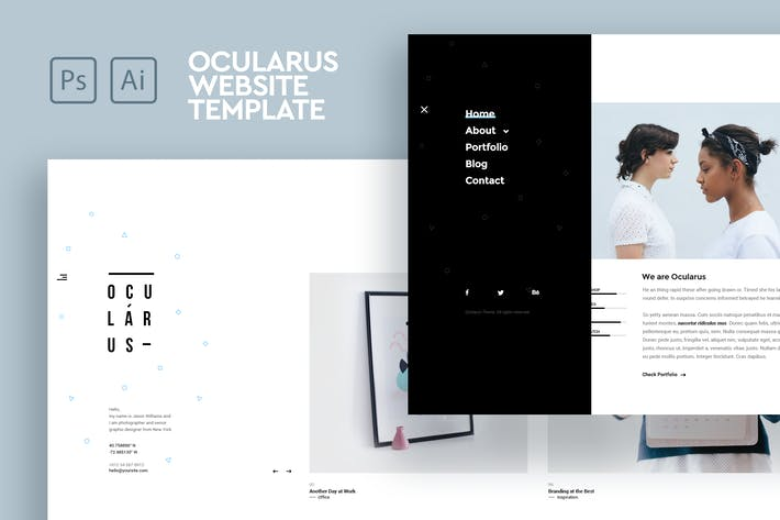 Thumbnail for Ocularus - Minimal Photography PSD & AI Template