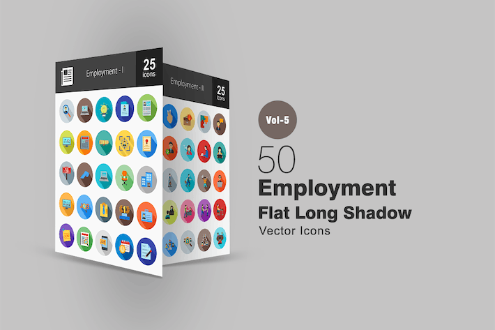 Thumbnail for 50 Employment Flat Shadowed Icons
