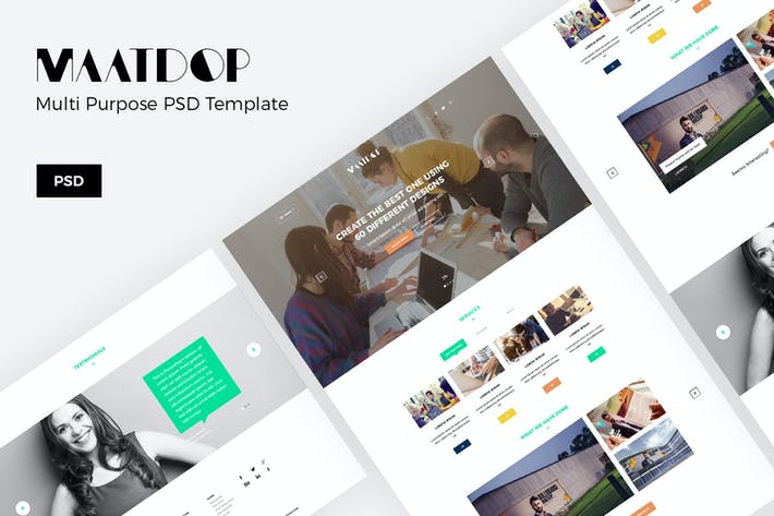 Thumbnail for Maatdop – Minimal Design Website PSD Template