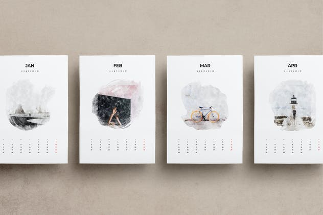 2021 Watercolor Calendar A3