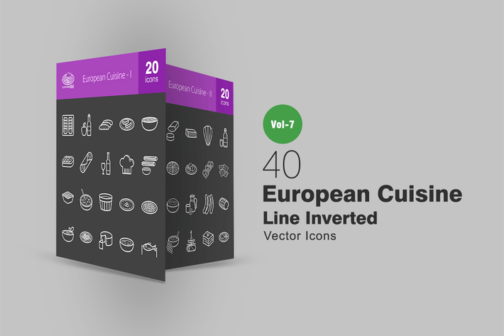 Thumbnail for 40 European Cuisine Line Inverted Icons
