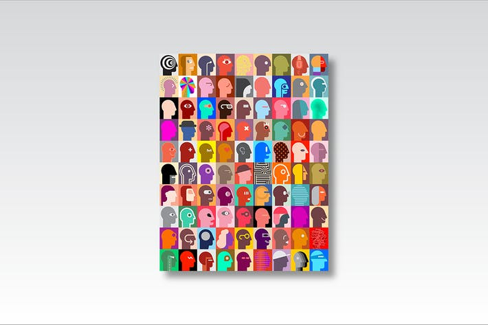 Cover Image For Human Heads with abstract patterns