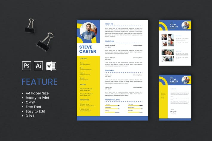 Thumbnail for Professional CV And Resume Template Carter