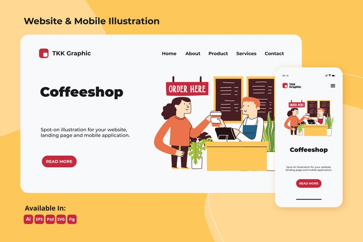 Thumbnail for Coffeeshop business web and mobile design