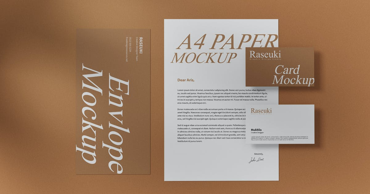 Download Elegant Stationery with Shadow Overlay Mockup by raseuki