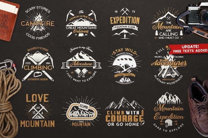 Thumbnail for Значки и Логотип «Винтажная горная экспедиция»