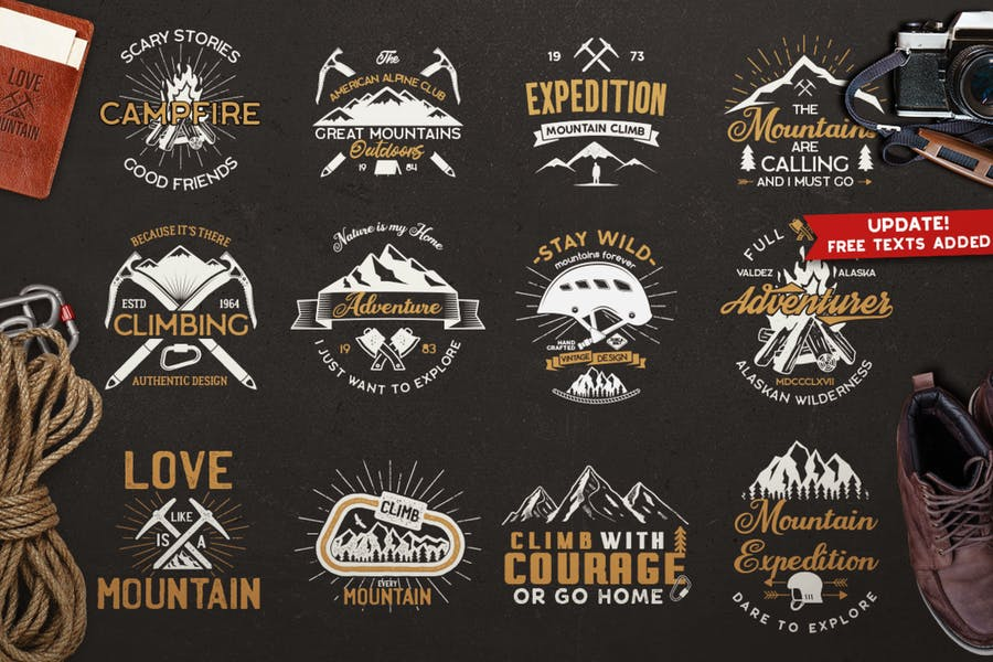 Vintage Mountain Expedition Badges and Logo