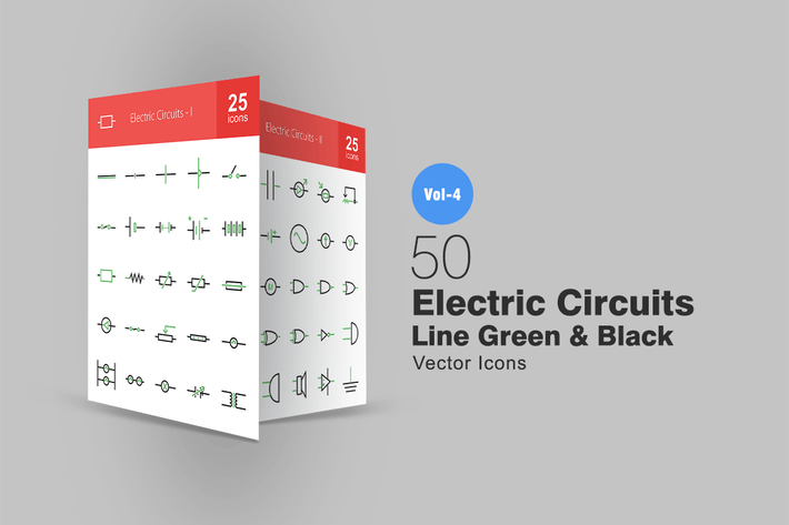 50 Electric Circuits Line Green & Black Icons