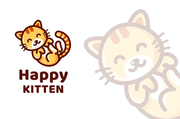 Thumbnail for Happy Kitten Cute Logo Template