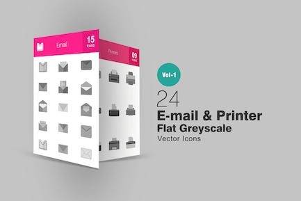24 Íconos de escala de grises para impresora e Correo electrónico