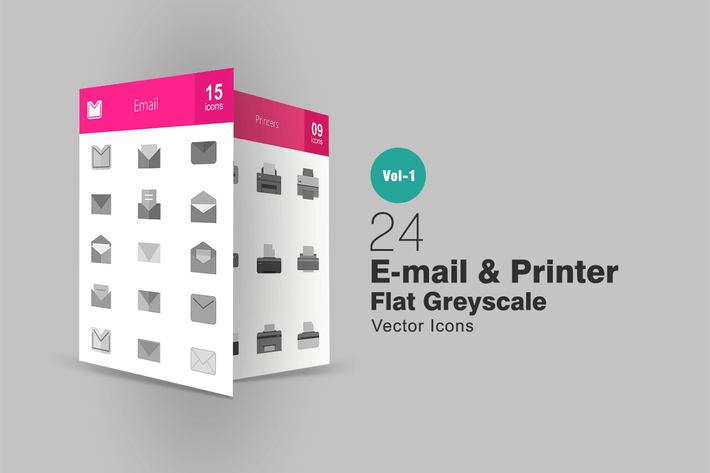 Thumbnail for 24 Email & Printer Greyscale Icons