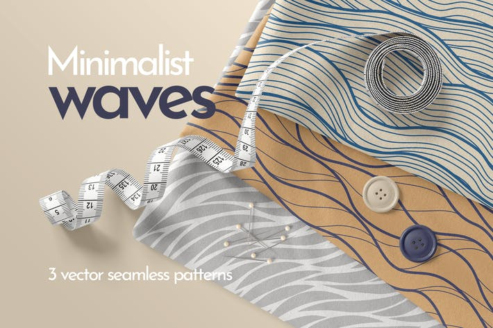 Cover Image For Minimalist Waves Seamless Patterns