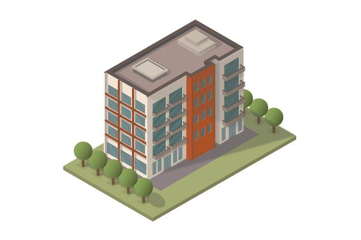 Vecteur d'appartement isométrique - Illustration KA