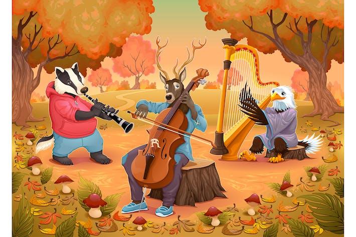 Musiker-Tiere im Wald