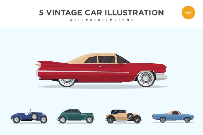 Thumbnail for 5 Vintage Classic Car Vector Illustration Set 1