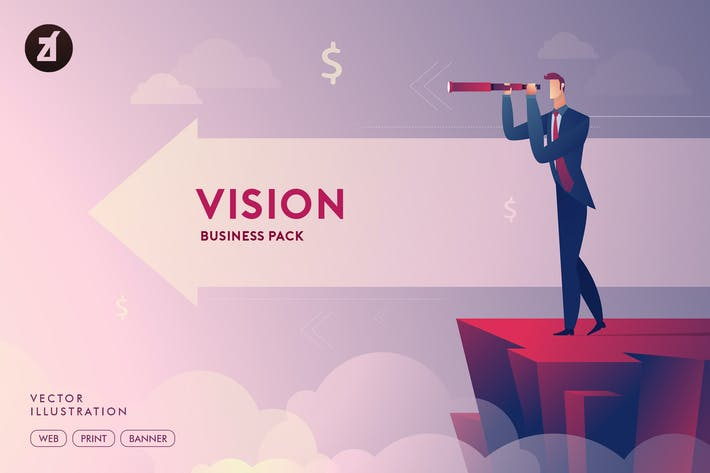Cover Image For Businessman vision illustration with layout