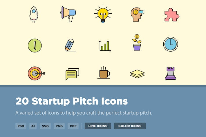Thumbnail for 20 Startup Pitch Icons