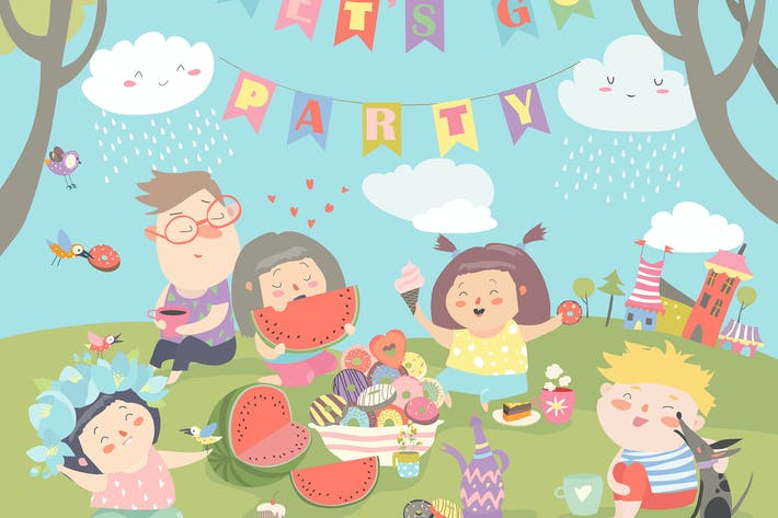 Thumbnail for Children having picnic at the lawn. Vector