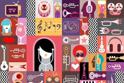 Collage de Arte Vector/Composición Artística