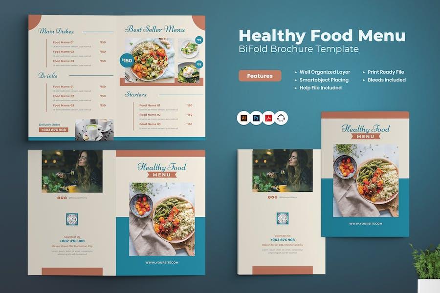 Healthy Food Menu Bifold Brochure