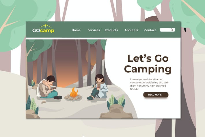 Thumbnail for Camping Landing Page Illustration