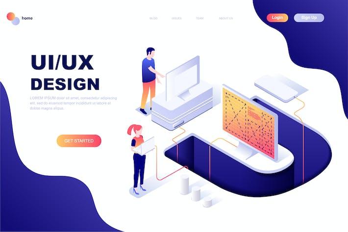 Thumbnail for Plantilla de Página de inicio isométrica de Diseño de UX/UI