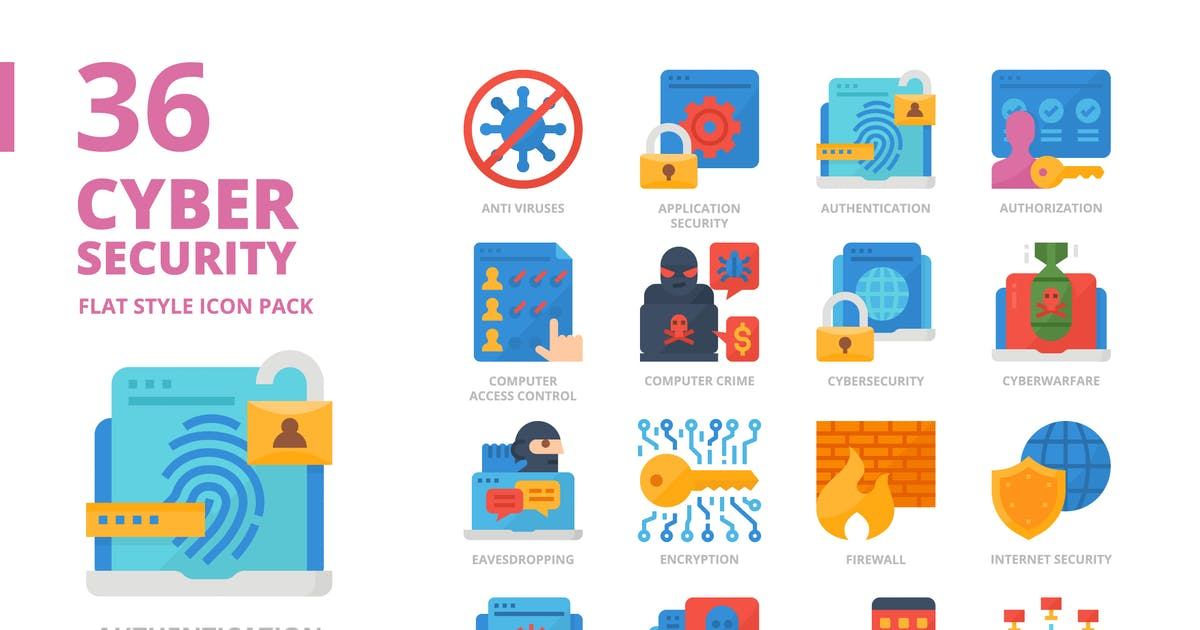 Download Cyber Security Flat Style Icon Set by monkik