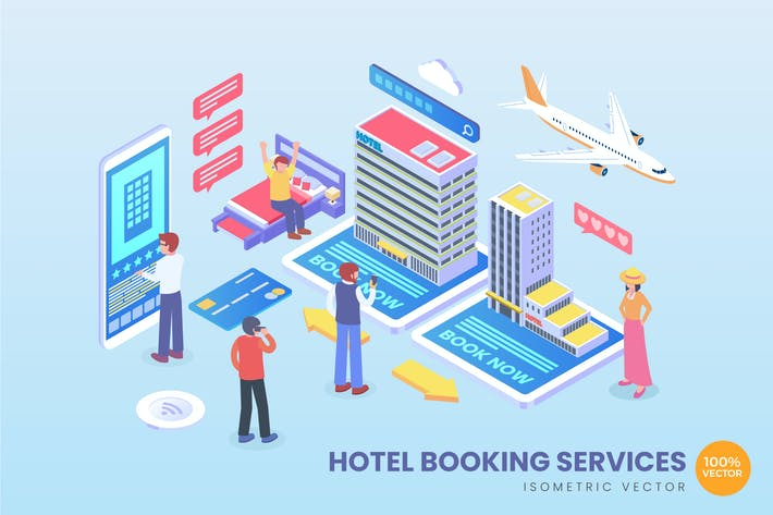 Thumbnail for Isometric Hotel Booking Services Vector Concept