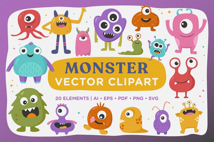 Thumbnail for Cute Monster Vector Clipart Pack