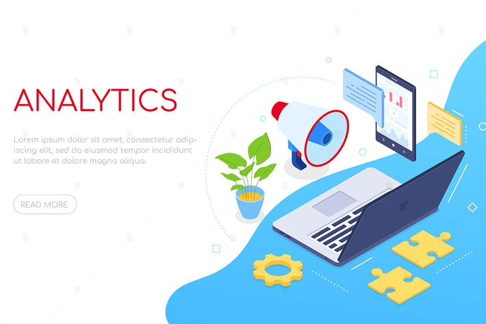 Thumbnail for Business analytics - colorful isometric web banner