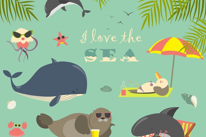 Thumbnail for Cute sea animals on resort. Vector collection