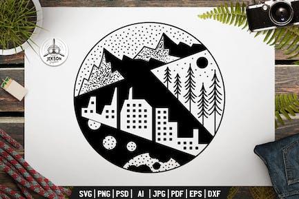 Camping Badge Design. Sacred Geometry Tattoo Art