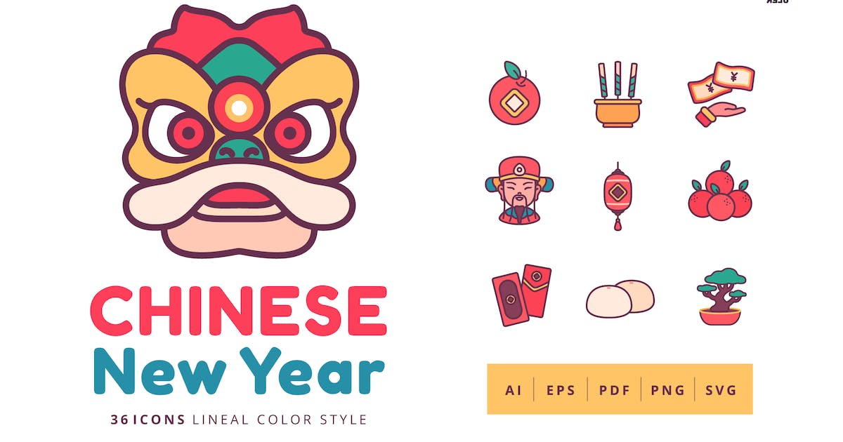 Download 36 Chinese New Year Icons Lineal Color Style by Victoruler
