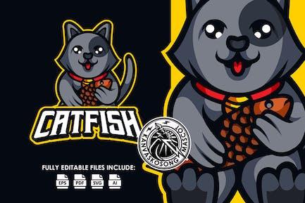 Lustige Katzenfische Esport Logovorlage