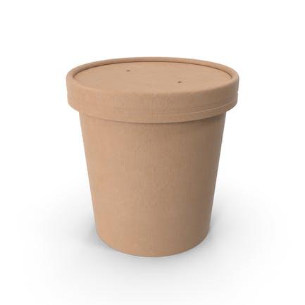 Taza de comida de papel kraft con tapa ventilada, cubo de helado desechable, 450 ml
