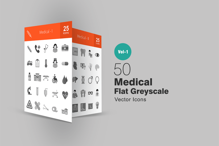 Thumbnail for 50 Medical Greyscale Icons