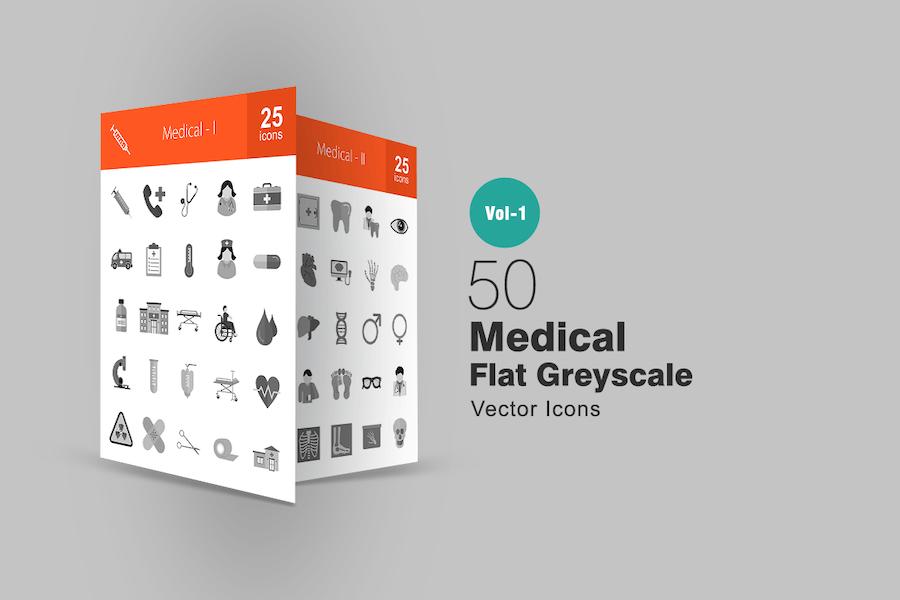 50 medizinische Graustufen-SyIcons
