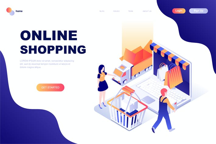 Thumbnail for Online Shopping Isometric Landing Page Template
