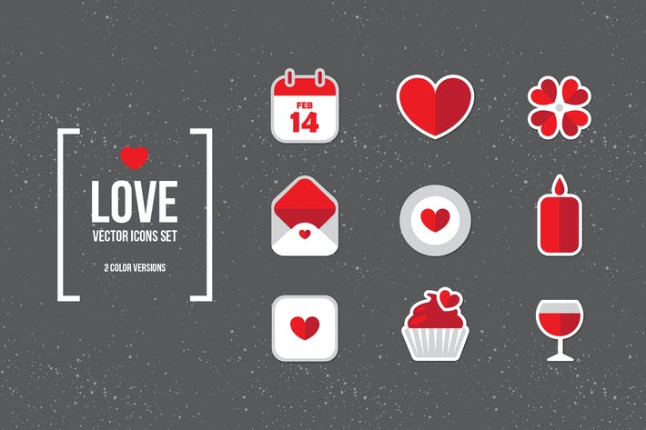 Thumbnail for Valentine's Day Flat Icons