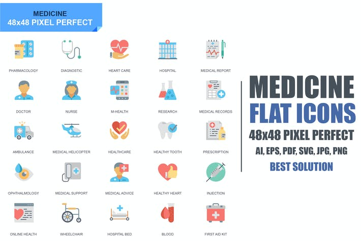 Cover Image For Simple Set Healthcare and Medical Flat Icons