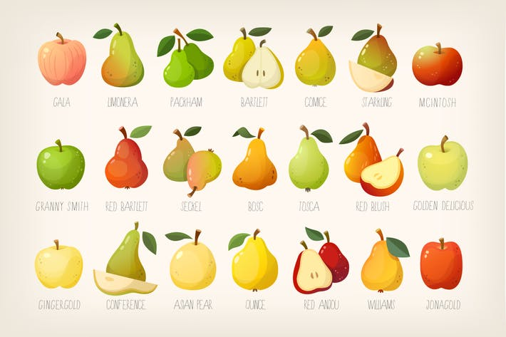 Thumbnail for Pears and apples with names