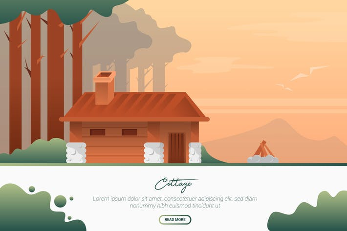 Thumbnail for Cottage - Vector Landscape & Building