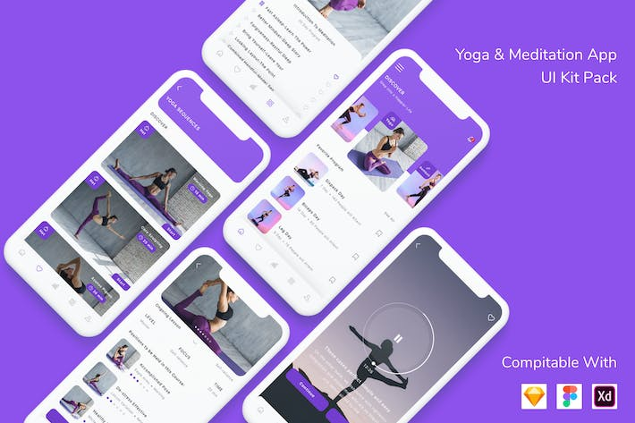 Thumbnail for Yoga & Meditation App UI Kit Pack