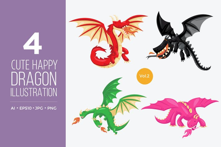 Thumbnail for Cute Happy Dragon Vector Character Set 2
