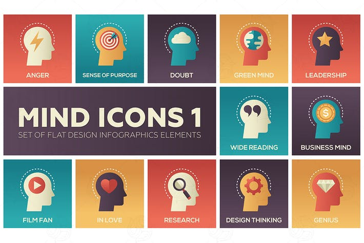 Thumbnail for Mind icons - set of flat infographics elements