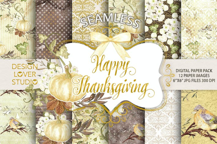 "Thumbnail for ""Happy Thanksgiving 2"" digital papers"