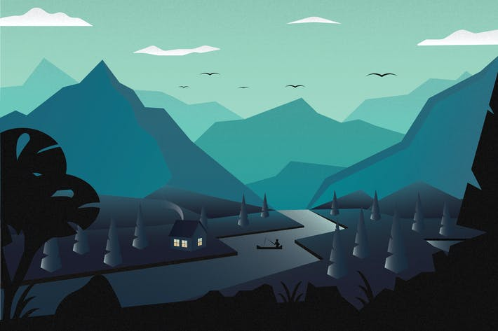 Thumbnail for Landscape Mountain River - Vector illustration