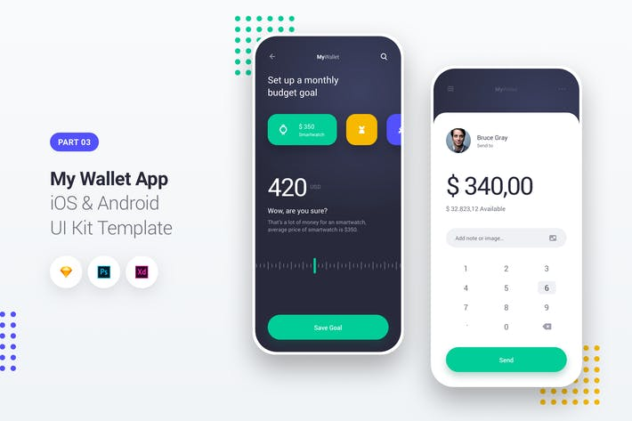Thumbnail for My Wallet App iOS & Android UI Kit Template 3