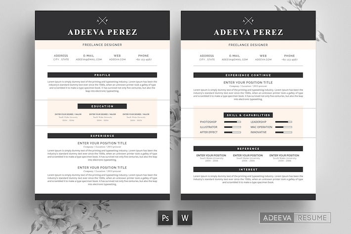 Thumbnail for Modern Resume Template Perez